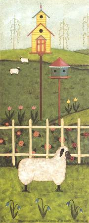 Birdhouse and Sheep Triptych