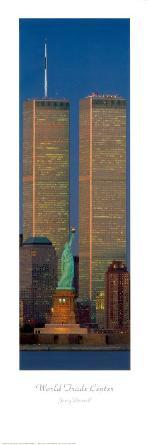 New York, New York - Statue of Liberty & World Trade Center Towers