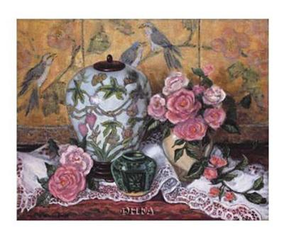 Roses with Green Jar