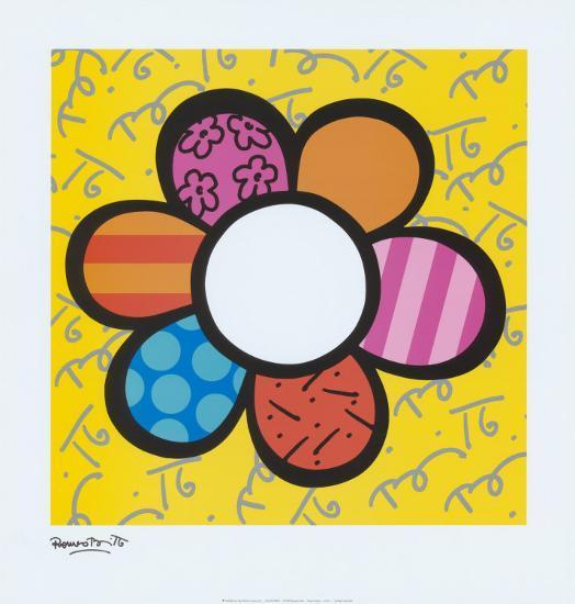 Coloriage Chat Romero Britto.Flower Power I
