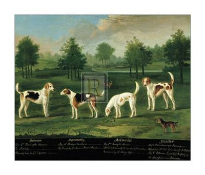 Two Couples of Hounds in a Park