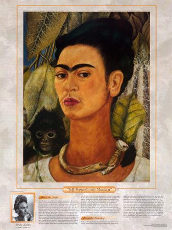 Notable Women Artists - Frida Kahlo - Self-Portrait with Monkey