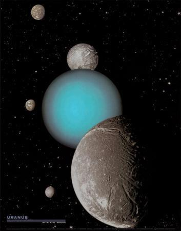 Uranus with 5 Moons - ©Spaceshots