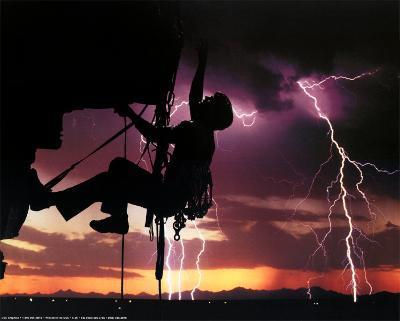Rock Climber and Lightning