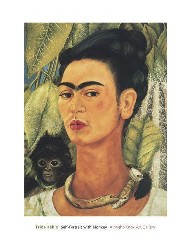 Frida Kahlo Self-Portrait with Monkey 16 x 20 1938 Unframed Poster Print