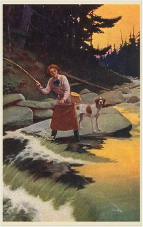 Woman and Dog Fly Fishing