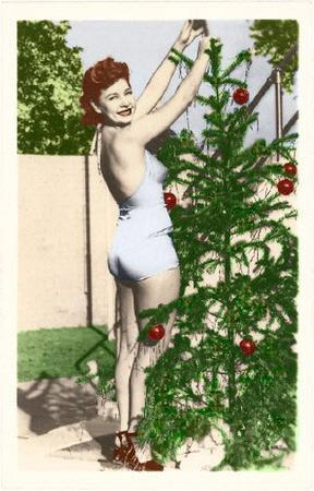 Bathing Beauty with Christmas Tree