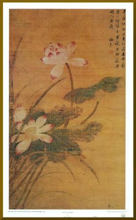 Lotus Flowers - Gold Trim