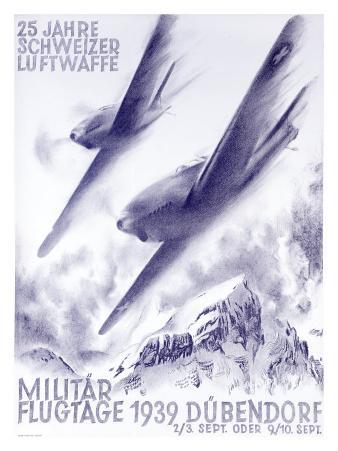 Vintage 1939 Swiss Luftwaffe Poster