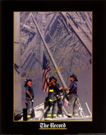 Firemen Raising The Flag At Wtc