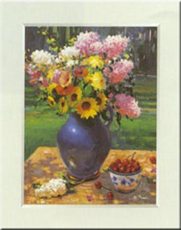 Blue Vase With Cherries