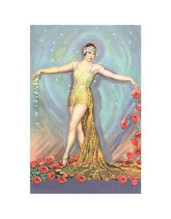 Art Deco Dancer with Poppies and Stars