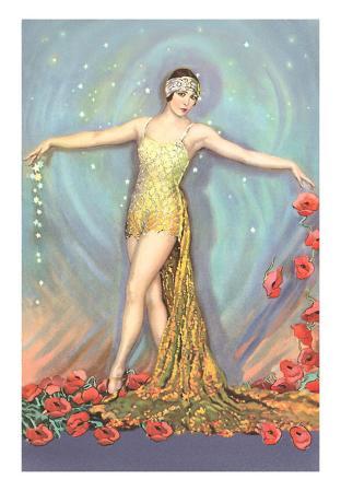 Art Deco Dancer with Poppies