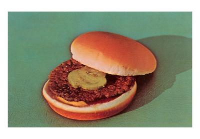 Hamburger with One Pickle Slice