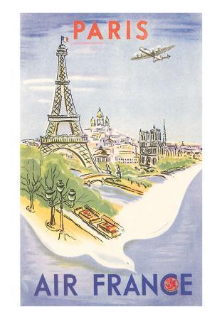 Eiffel Tower, Paris, France, Air France Illustration