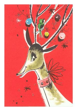 Deer with Ornaments in Antlers, Illustration