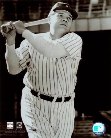Babe Ruth -Bat over shoulder, posed sepia
