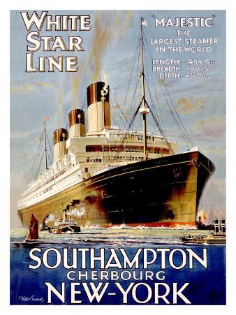 White Star Line, Southampton, Cherbourg, New York