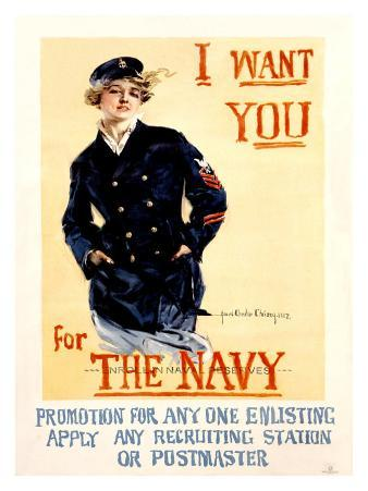 Vintage WWII Navy Recruit Poster