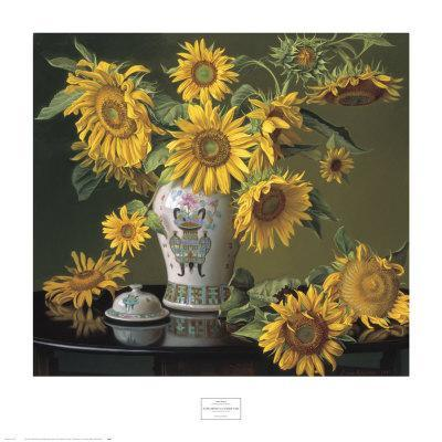 Sunflowers in a Chinese Vase