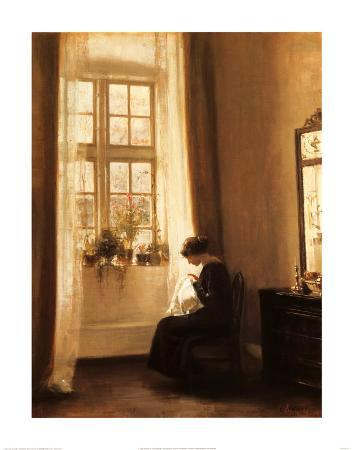 Girl Sewing in an Interior