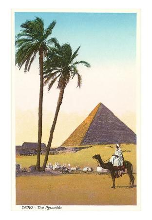 Egyptian Pyramid with Camel and Palms