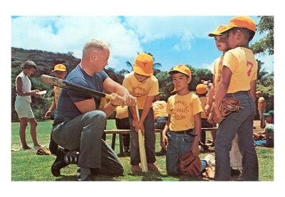 Dad Showing Young Ballplayers the Way