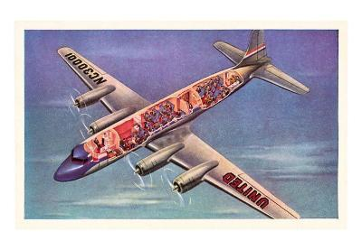 Cutaway View of Airplane Passengers