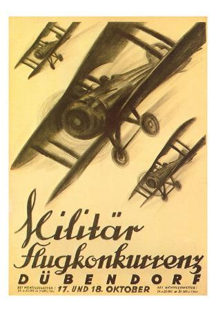 German Air Show Poster with Biplanes