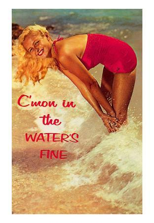 C'mon in, The Water's Fine, Woman in Surf