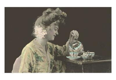 Woman with Big Hair Pouring Tea