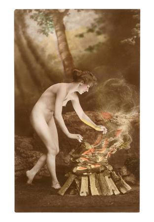 Naked Woman with Campfire