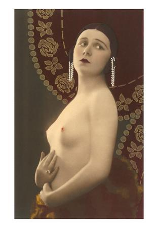 Topless Woman with Pearl Earrings