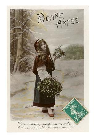 Bonne Annee, Woman Dressed Like Red Riding Hood
