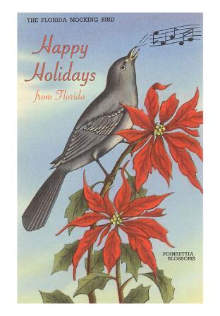Happy Holidays from Florida, Mocking Bird, Poinsettias