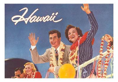 Hawaii, Tourist Couple on Ship's Rail