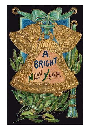 Bright New Year, Embossed Gold Bell