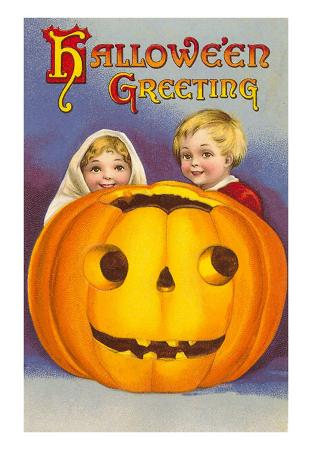 Halloween Greeting, Children with Jack O'Lantern
