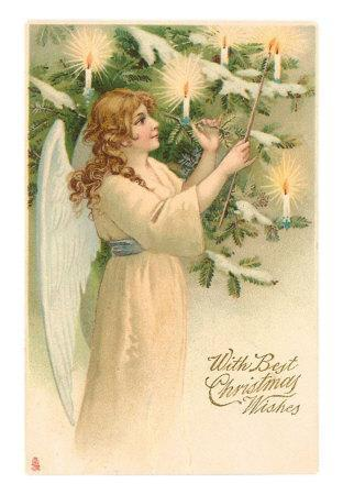 Christmas Wishes, Angel Lighting Candles