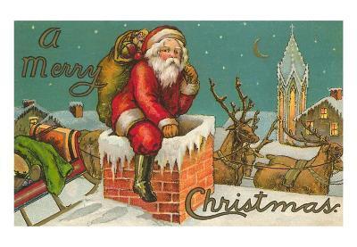 Merry Christmas, Santa Entering Chimney