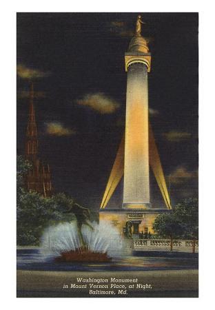 Night, Washington Monument, Baltimore