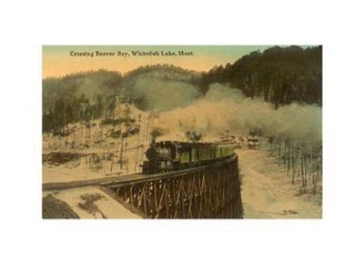 Train Crossing Beaver Bay, Whitefish, Montana