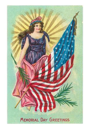 Memorial Day Greetings, Columbia and Flag