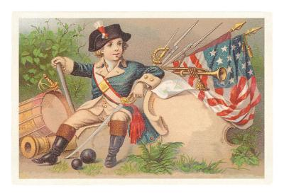 Boy with Bugle, Drum and Flag