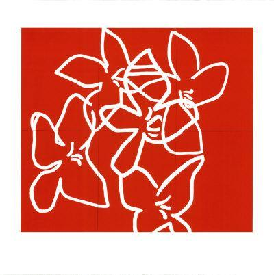 Fleurs Blanches Sur Fond Rouge, c.2003