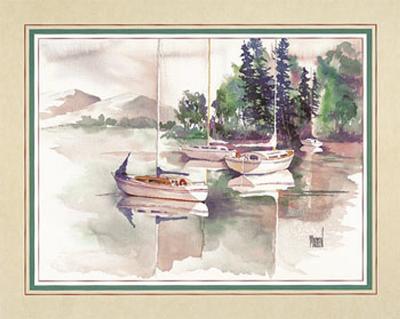 Sailboats Among Pine Trees