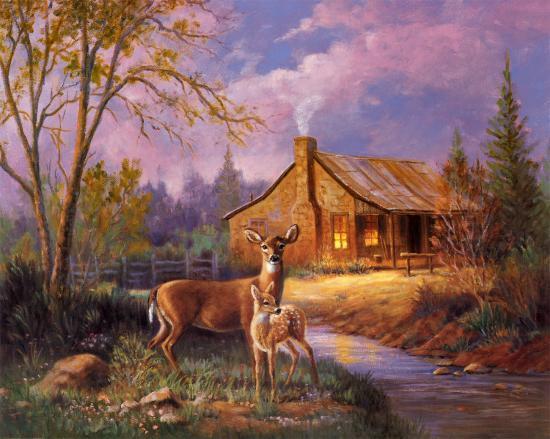 Deer Near Cabin Art By M Caroselli At Allposters Com