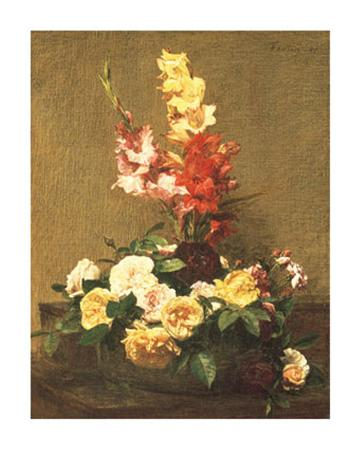Gladioli and Roses