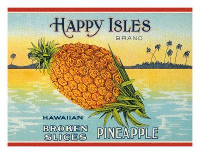 Happy Isles Brand, Pineapple Can Label, c.1930s
