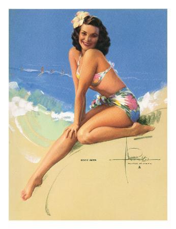 Sunny Skies, Pin-Up of Miss Hawaii 1950 Elsa Edsman, c.1953